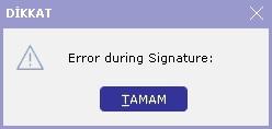 error during signature