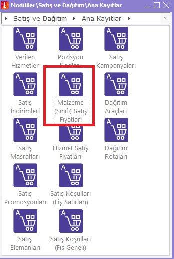 malzeme sınıfı satış fiyatları