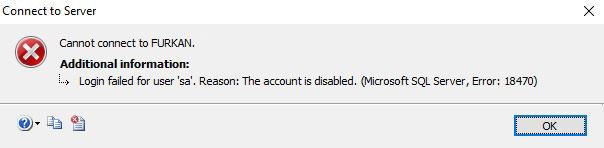 login failed for user sa reason the account is disabled microsoft sql server error 18470
