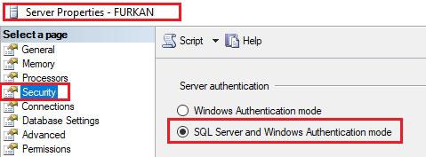 sql server authentication mode değiştirme