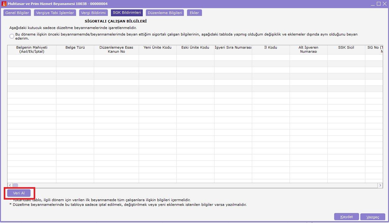 Logo ERP muhtasar beyanname sgk bildirimleri veri alma işlemi